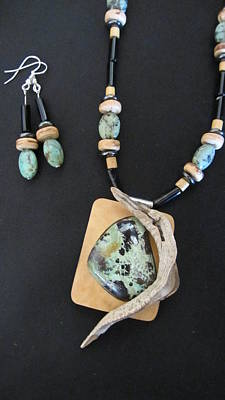 Mixed Media - Variscite And Hematite In Gourd Wood #r90 by Barbara Prestridge