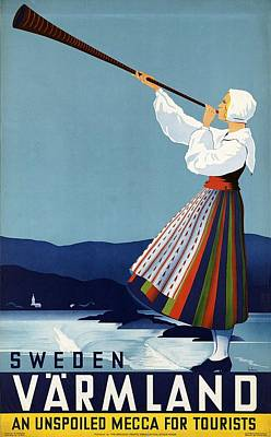 Mixed Media - Varmland, Sweden - Lady In Traditional Dress Blowing Horn - Retro Travel Poster - Vintage Poster by Studio Grafiikka