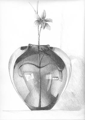 Drawing - Vase And Flower Sketch by Ben Kotyuk
