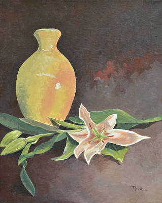Painting - Vase And Orchids by Marina Garrison