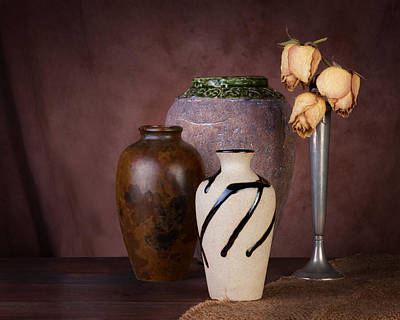 Ceramic Design Photograph - Vase And Roses Still Life by Tom Mc Nemar