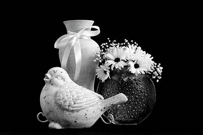 Photograph - Vase, Bird And Daisies by Sandra Foster