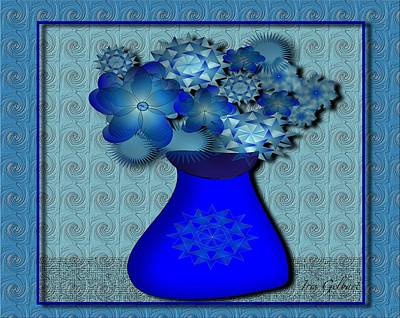 Digital Art - Vase In Blue by Iris Gelbart