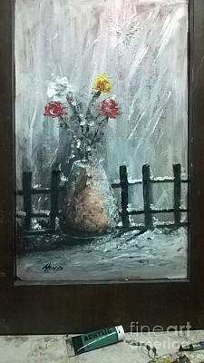 Vase In Snow Art Print