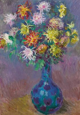 Vase Of Chrysanthemums Print by Claude Monet