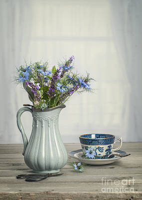 Antique Flowers Vase Wall Art - Photograph - Vase Of Cornflowers by Amanda Elwell