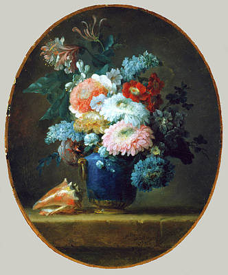Vase Of Flowers And Conch Shell Art Print