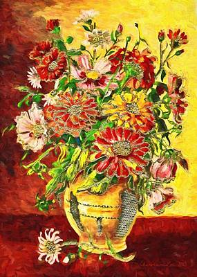 Digital Art - Vase Of Flowers by Charmaine Zoe