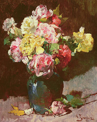 Pots Of Flowers Painting - Vase Of Flowers by Georges Jeannin