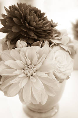 Photograph - Vase Of Flowers In Sepia by Joni Eskridge