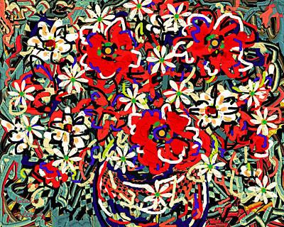 Flower Still Life Mixed Media - Vase Of Flowers by Natalie Holland
