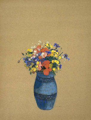 Flowers In Vases Pastel - Vase Of Flowers by Odilon Redon