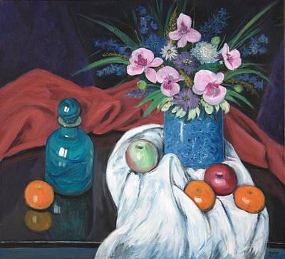 Glass Vase Painting - Vase Of Flowers by Sandra Delaney