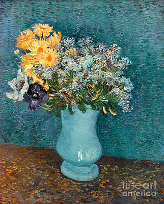 Pottery Painting - Vase Of Flowers by Vincent Van Gogh