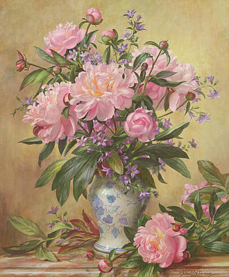 Stalk Painting - Vase Of Peonies And Canterbury Bells by Albert Williams