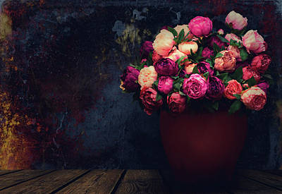 Photograph - Vase Of Peonies by Iryna Goodall