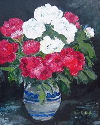 Vase Of Peonies Art Print