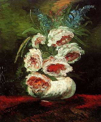 Pisarro Painting - Vase Of Peonies by William Merritt