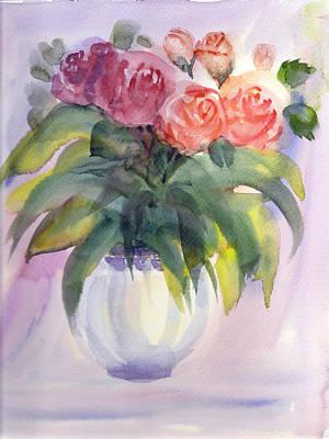 Painting - Vase Of Roses by Asha Sudhaker Shenoy
