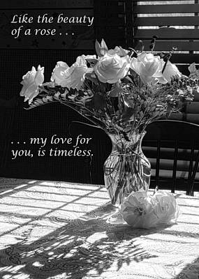 Photograph - Vase Of Roses In Black And White by Joni Eskridge