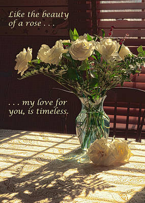 Photograph - Vase Of Roses Expression Of Love In Color by Joni Eskridge