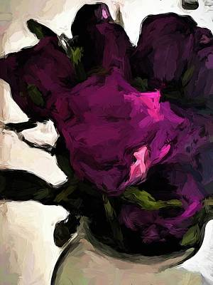 Digital Art - Vase Of Roses With Shadows 1 by Jackie VanO