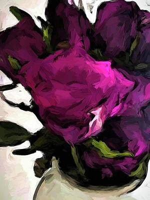 Digital Art - Vase Of Roses With Shadows 2 by Jackie VanO