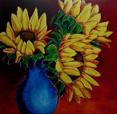 Flower Still Life Mixed Media - Vase Of Sun by Vickie Warner
