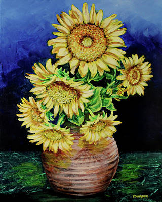 Painting - Vase Of Sunflowers by Karl Wagner