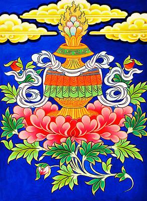 Vajrayana Painting - Vase Of Treasure by Lanjee Chee