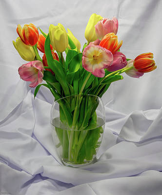 Photograph - Vase Of Tulips by Greg Thiemeyer
