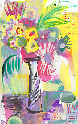 Painting - Vase Of Wild Flowers In Yellow by Amara Dacer