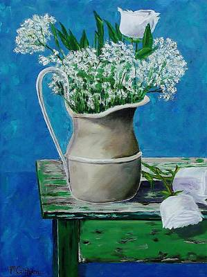Painting - Vase On Table With Flowers by Mike Caitham