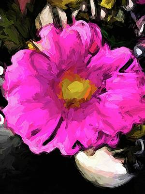 Digital Art - Vase With A Flower Of Pink And Gold 1 by Jackie VanO