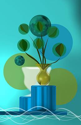 Vase Digital Art - Vase With Bouquet Over Blue by Alberto RuiZ