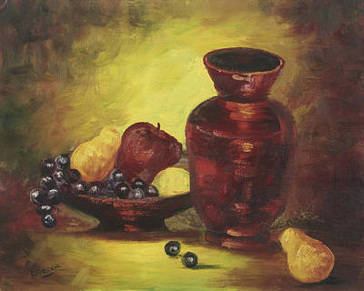 Vase With Fruit Bowl Art Print by Cathy Robertson
