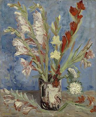 Painting - Vase With Gladioli And Chinese Asters Paris, August - September 1886 Vincent Van Gogh 1853  1890 by Artistic Panda