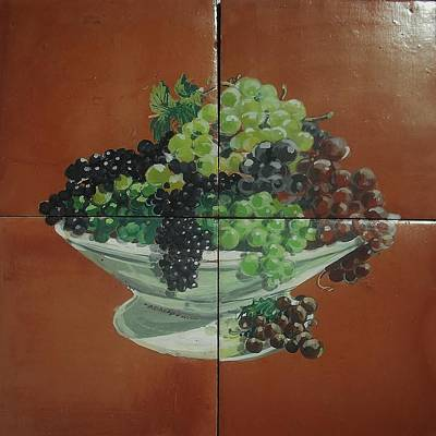 Vase With Grapes Art Print by Andrew Drozdowicz