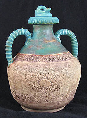 Ceramic Art - Vase With Lid by Judy  Hensley