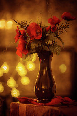 Poppies Photograph - Vase With Poppies by Lilia D