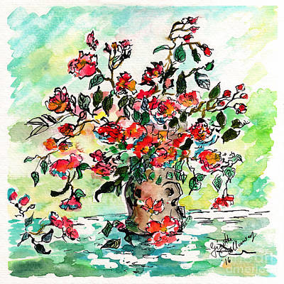 Painting - Vase With Red Roses Watercolor by Ginette Callaway