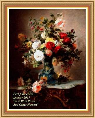 Marble Top Table Painting - Vase With Roses And Other Flowers L A With Alt. Decorative Ornate Printed Frame. by Gert J Rheeders