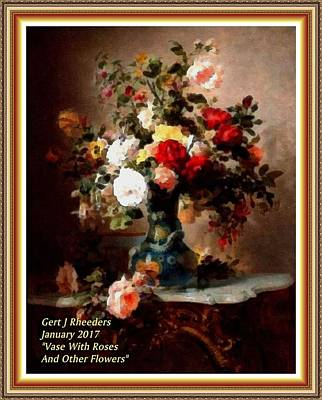 Marble Top Table Painting - Vase With Roses And Other Flowers L A With Decorative Ornate Printed Frame. by Gert J Rheeders