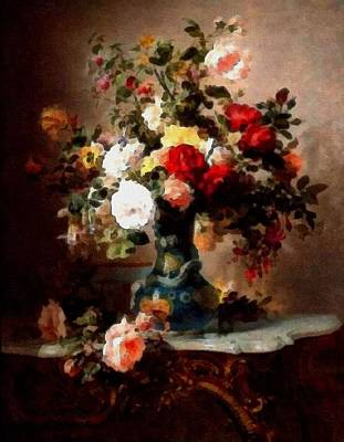 Marble Top Table Painting - Vase With Roses And Other Flowers L B by Gert J Rheeders