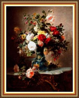 Marble Top Table Painting - Vase With Roses And Other Flowers L B With Alt. Decorative Ornate Printed Frame. by Gert J Rheeders