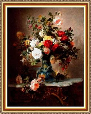Marble Top Table Painting - Vase With Roses And Other Flowers L B With Decorative Ornate Printed Frame. by Gert J Rheeders