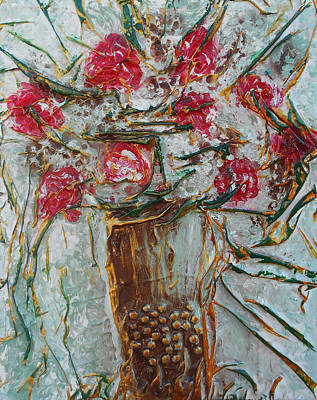 Mixed Media - Vase With Roses by Angela Stout