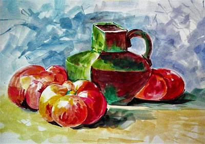 Painting - Vase With Tomatoes by Khalid Saeed