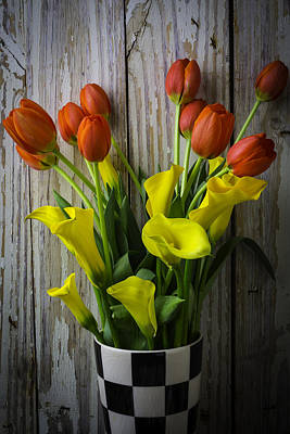 Chip Photograph - Vase With Tulips And Callas by Garry Gay