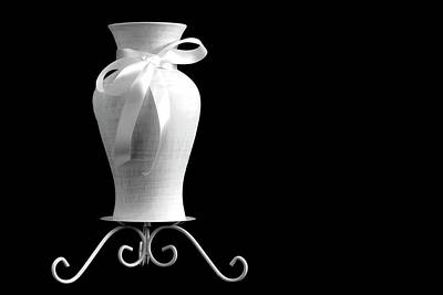 Photograph - Vase With White Bow by Sandra Foster